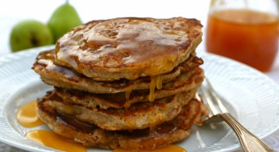 Pear-and-buckwheat pancakes