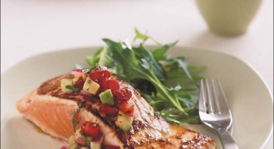 Glazed Salmon Fillets with Strawberry and Avocado Salsa