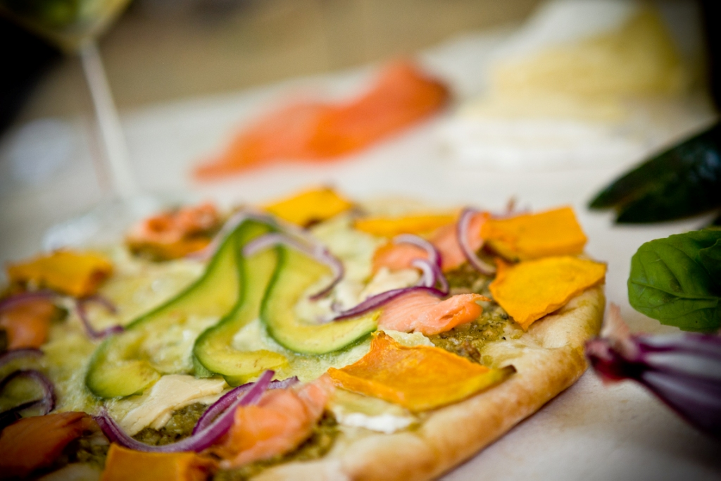Smoked salmon avocado and creamy brie pizza